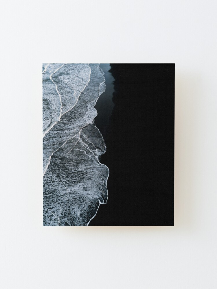 Alternate view of Minimalist waves and black sand beach in Iceland - Landscape Photography Mounted Print