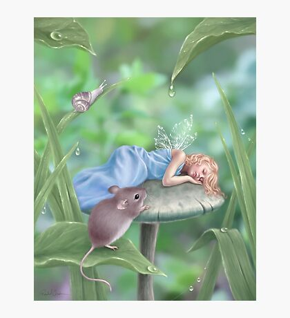 Sweet Dreams Sleeping Fairy & Mouse Photographic Print