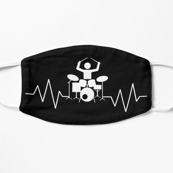 Drummer Heartbeat Pulse Line Percussion Flat Mask