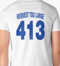 Team shirt - 413 Request Too Large, blue letters Men's V-Neck T-Shirt
