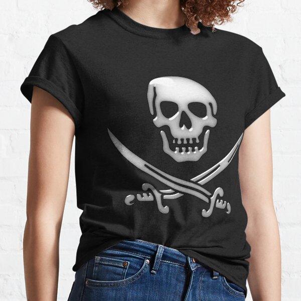 Glassy Pirate Skull & Sword Crossbones  Classic T-Shirt