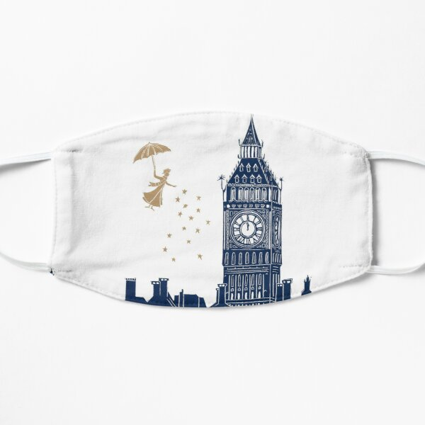 Mary Poppins and Big Ben Linocut Flat Mask
