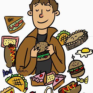 Dean eats food by Cheeselock
