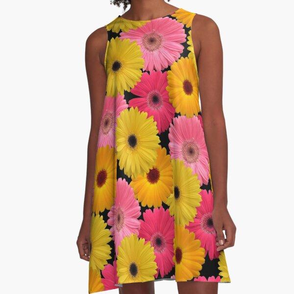 Gerbera Blumen A-Linien Kleid