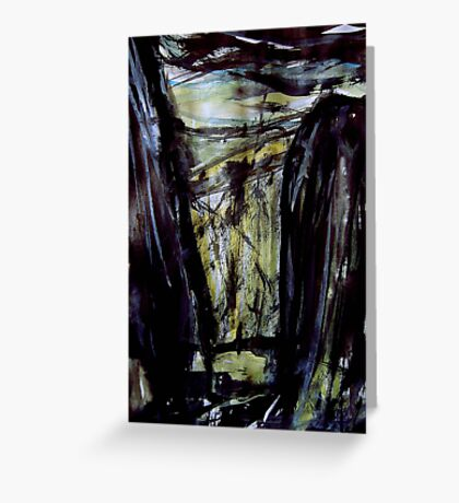 above storm brewing.... down in the gorge a figure waiting Greeting Card