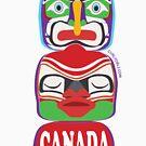 Canada Totem Purple T-Shirt by curlyorli