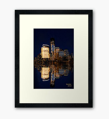 Reflections of The Freedom Tower and down town Manhattan Framed Print