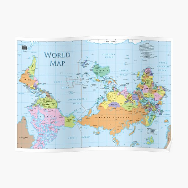 upside down world map Poster