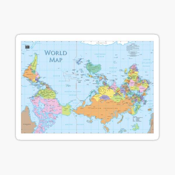 upside down world map Sticker