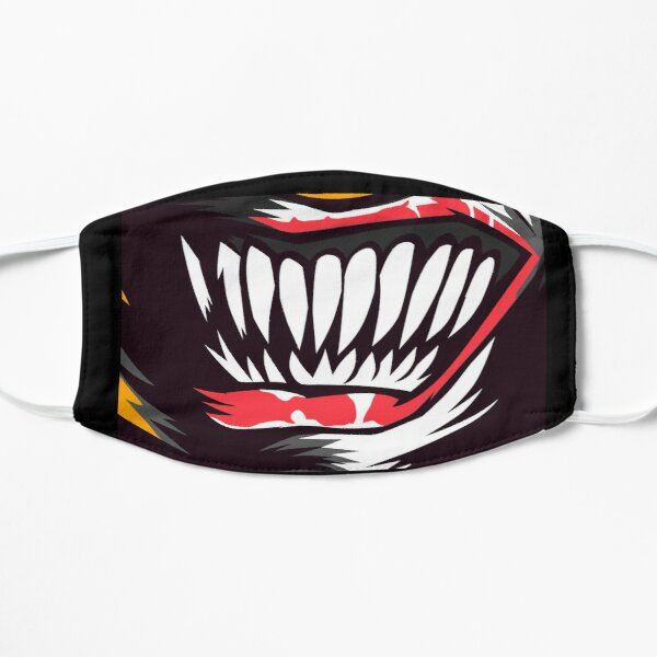 Scary Evil Clown Teeth Horror Mask Face Design Flat Mask