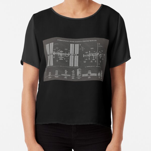 Space Station (ISS) & Visiting Vehicles (Blackboard) Chiffon Top