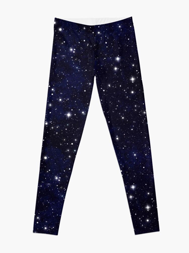 Alternate view of Blue Galaxy Stars Leggings