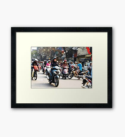 Wrong Way - Hanoi traffic, North Vietnam Framed Print