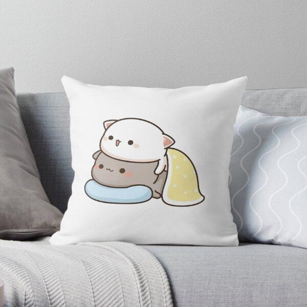 Peach and Goma in Blankets - Mochi Peach Cat Throw Pillow