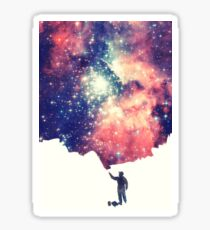 Painting the universe (Colorful Negative Space Art) Sticker