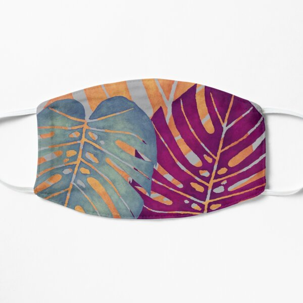 MONSTERA LEAVES - Orange, Magenta, & Blue Swiss Cheese Leafs On Gray Mask