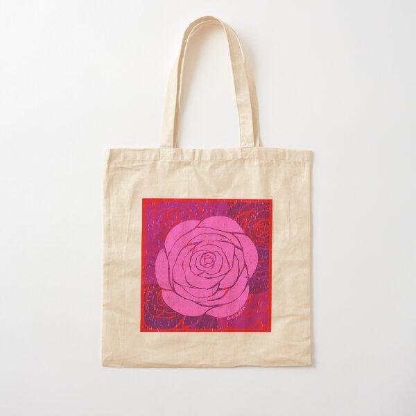 Rose Woodblock Print Cotton Tote Bag