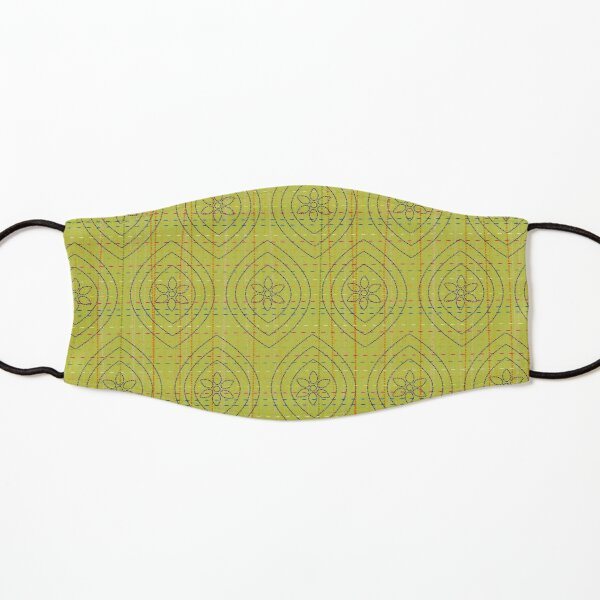 Hand Stitched on Lime Green Ground Kids Mask