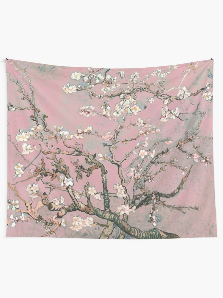 Alternate view of Almond Blossom - Vincent Van Gogh (pink pastel) Tapestry