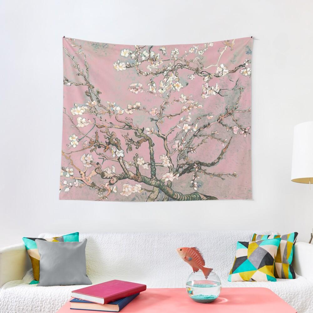 Almond Blossom - Vincent Van Gogh (pink pastel) Tapestry