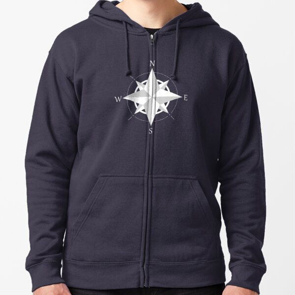 Rose Of The Winds (White Version Graphic Design) Zipped Hoodie