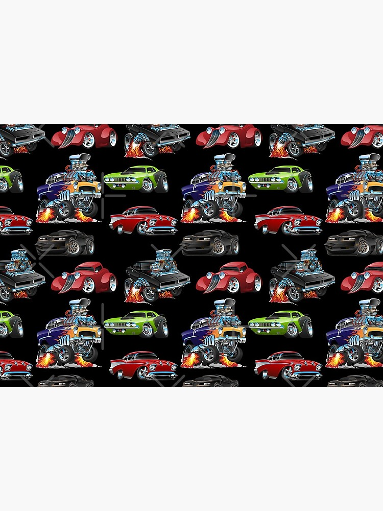 Hot Rods and Muscle Cars Seamless Repeating Pattern by hobrath