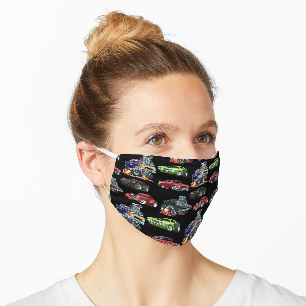 Hot Rods and Muscle Cars Seamless Repeating Pattern Mask