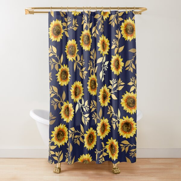 Sunny Yellow Gold Navy Sunflowers Leaves Pattern Shower Curtain
