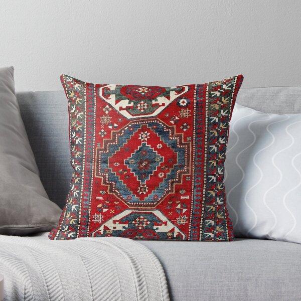 Kazak Antique Three Medallion Tribal Rug Print Throw Pillow