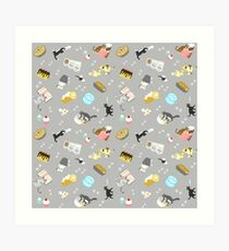 Cats Baking Cakes and other Sweets, in Grey Art Print