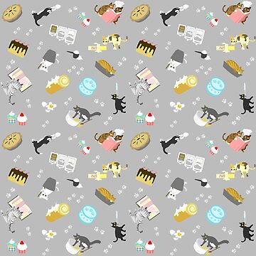 Cats Baking Cakes and other Sweets, in Grey by ninniku