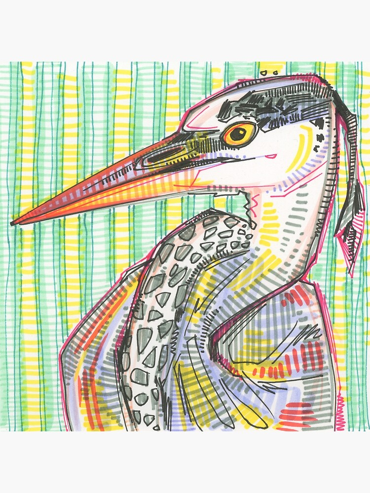 Heron Drawing - 2015 by gwennpaints