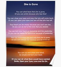 She is Gone - Funeral Poem for Mum Poster