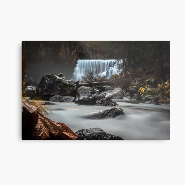 End of Fall waterfall photograph Metal Print