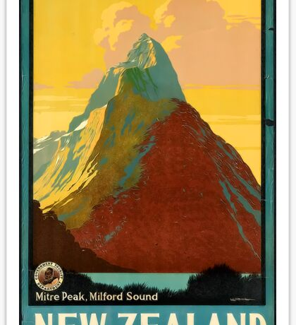 New Zealand Milford Sound Vintage Travel Advertisement Sticker