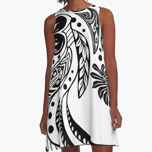 Polynesian Tribal Black And White  A-Line Dress