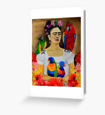 Frida Kalho and Her Parrots Greeting Card