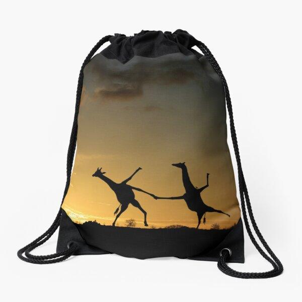Happy Dancing Giraffes Drawstring Bag