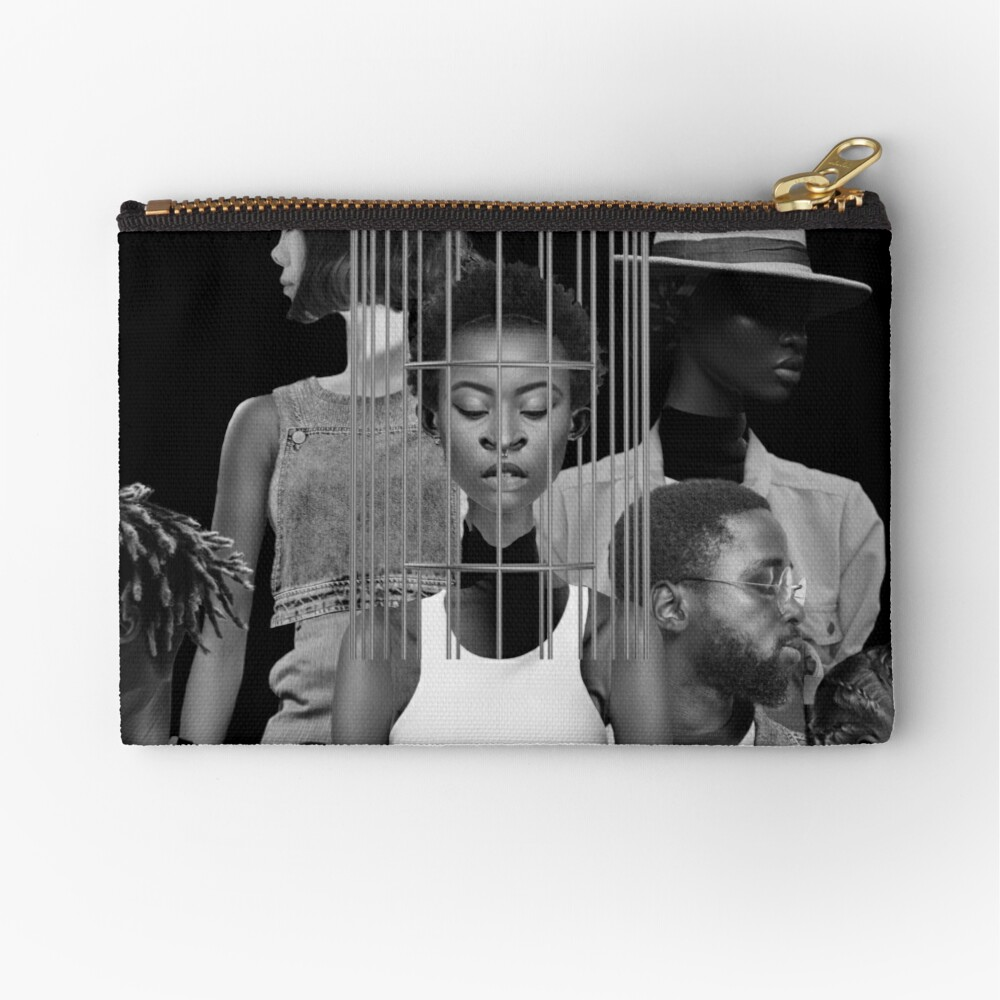 Invisible Loneliness - Lonely, black and white, people,  Zipper Pouch