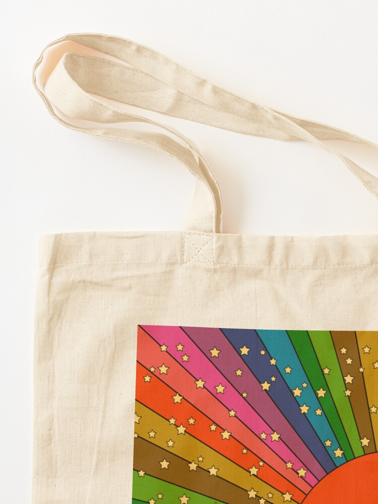 Alternate view of Rainbow 70s sun Tote Bag
