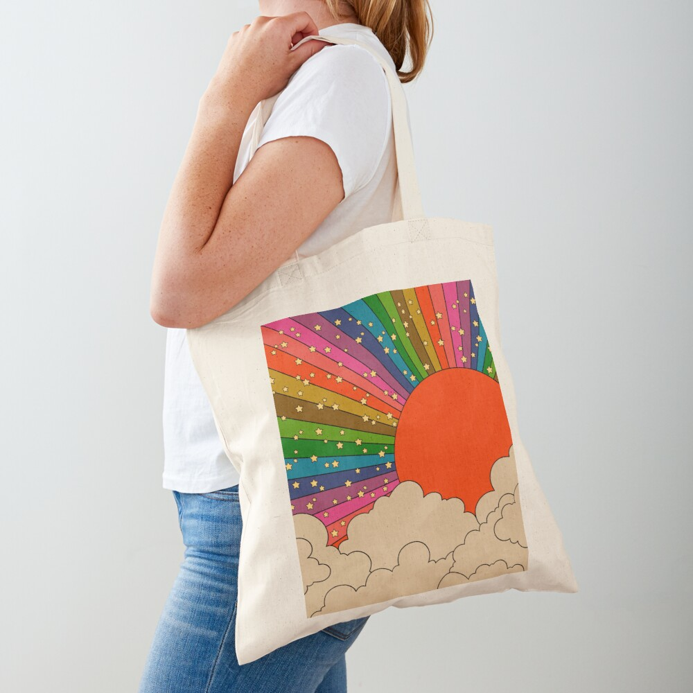 Rainbow 70s sun Tote Bag