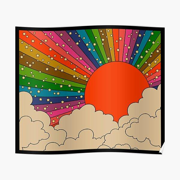 Rainbow 70s sun Poster