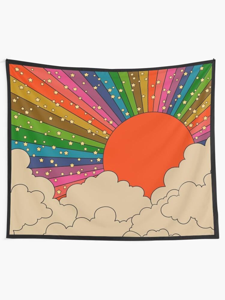 Alternate view of Rainbow 70s sun Tapestry