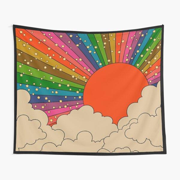 Soleil arc-en-ciel des années 70 Tentures