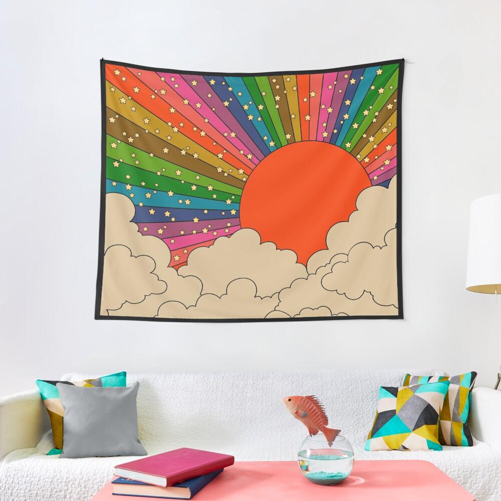 Rainbow 70s sun Tapestry