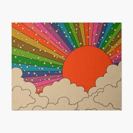 Rainbow 70s sun Art Board Print
