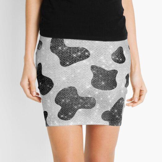 Glamorous Black Sparkly Glitter Sequins Cow Print Mini Skirt