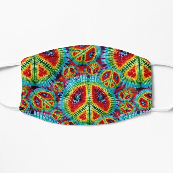 Psychedelic Tie Dyed Peace Signs Pattern Flat Mask