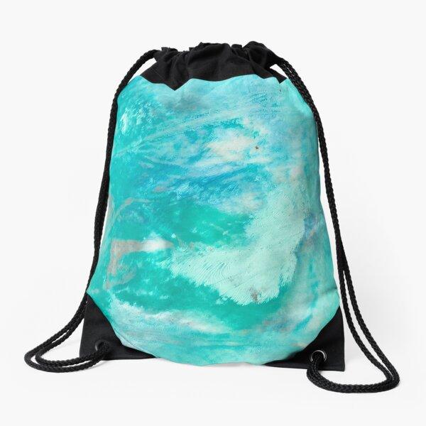 Amazonite Crystal Ink & Acrylic Abstract Print Drawstring Bag