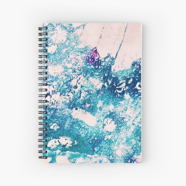 Rainbow Moonstone Crystal Ink & Acrylic Abstract Print Spiral Notebook